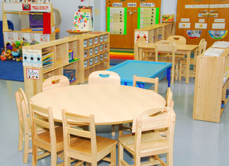 Classroom and activity stations of preschool