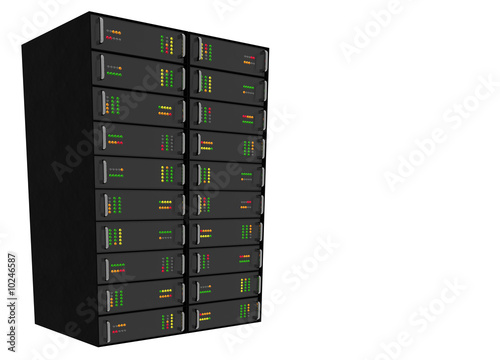 Medium Web Hosting Server Rack on white