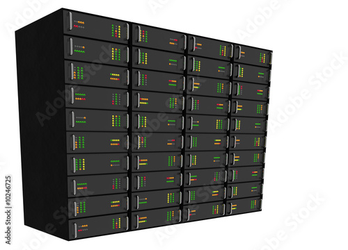 Large Web Hosting Server Rack on white