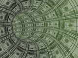 Movement of money resources - tunnel from dollars poster