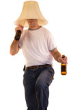 A person drinking alcohol dancing to some music
