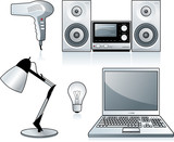 Home appliances: hairdryer, stereo, lamp, bulb, laptop poster