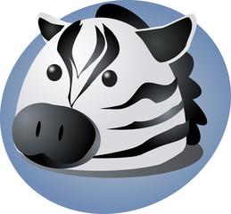 Cartoon head of a zebra, cute animal illustration
