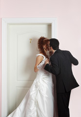 portrait of enamoured just married couple