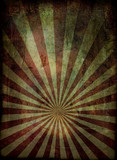 Radiating grunge background in red and with a weathered effect poster