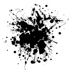 Black and white ink splat with room to add copy