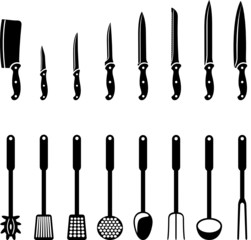Kitchen knives and utensils