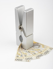 fastener, clip with money isolated on the white background