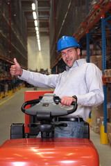 happy fork lift driver