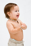 Cute and smiling topless toddler boy with necklace, isolated poster