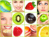 Fototapety Healthy lifestyle. People, diet, healthy nutrition, fruits.
