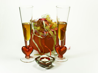 Celebration with drinks, candle and gift