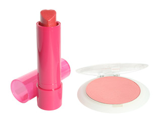 Lipstick and blush on a white background.