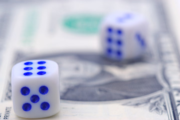 Banknote and two dice