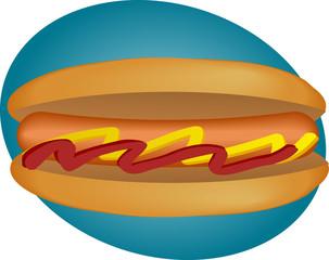 Hotdog illustration, sausage between buns with ketchup