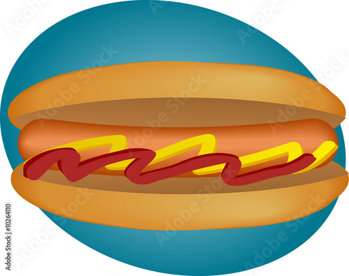 Hotdog illustration, sausage between buns with ketchup
