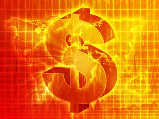 US Dollar symbol over world map