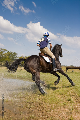 Papiers peints Equestre Horse and rider cornering at speed
