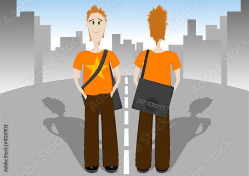 Студент с сумкой стоит на дороге, иллюстрация, иллюстрация 543499.