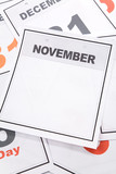 Blank Calendar, November, close up for background poster