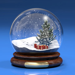 Boccia di vetro con abete e regali