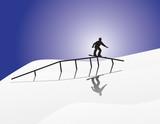 Snowboard Illustration Grinding rail poster