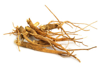 A bunch of ginseng or  parsley roots