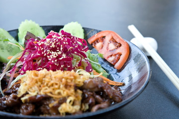 food concept with chinese beef and shallow dof