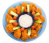 Delicious buffalo chicken wings with ranch dressing, poster