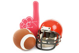 Football, helmet, and foam number one finger.  Isolated poster