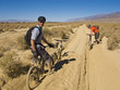 Two men mountain biking on a dusty, rutted, remote dirt track.