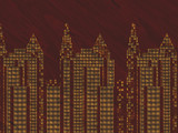 Cityscape laquered woodburning or marquetry on dark wood poster