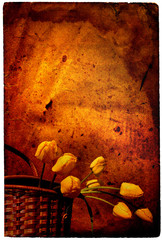 The leaf of the post paper decorated by a basket with tulips
