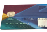 fake bank card ( totaly remade ) on a white background poster