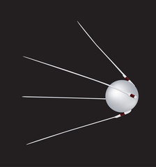 Illustration of the world's first orbiting satellite - sputnik 1