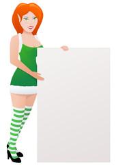 Elfe en robe verte présente un panneau à droite (détouré)