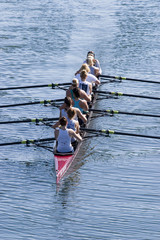 women's rowing team training for the race day
