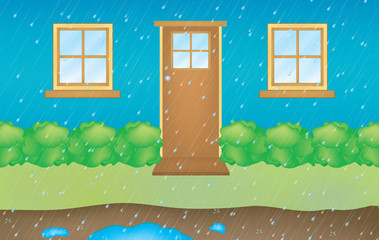 high detailed illustration of a house with rain