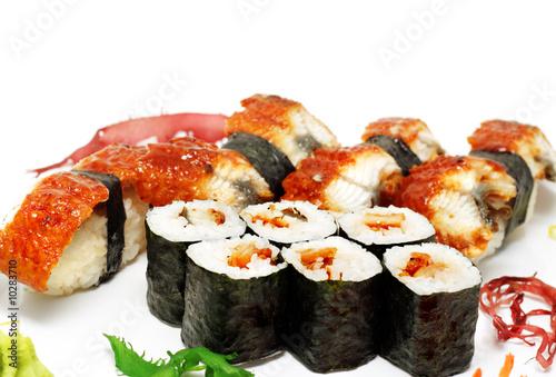 Fototapeta Eel Nigiri Sushi and Eel Maki Sushi