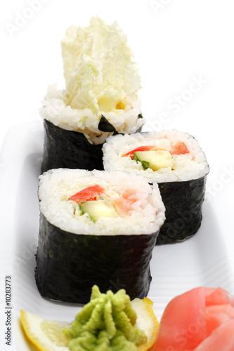Fototapeta Vegetarian Sushi Isolated on White Background