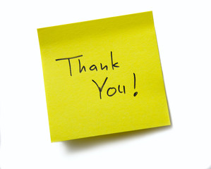Thank You ! Sticky note. Isolated on white background.