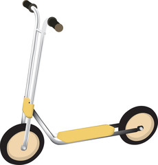 child's scooter illustration with wheels and bars