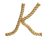 old natural fiber rope bent in the form of letter K
