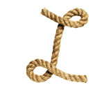 old natural fiber rope bent in the form of letter L