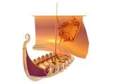 3D illustration of a golden viking ship poster