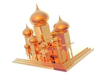 3D illustration of gold Taj Mahal