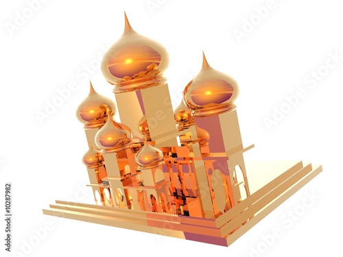 3D illustration of gold Taj Mahal