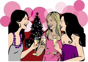 Girlfriends celebrate Christmas