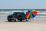 Pickup truck on the beach in southern Texas, United States poster