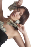 The girl undresses for money  on a white background poster
